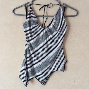 striped halter top with asymmetrical hem